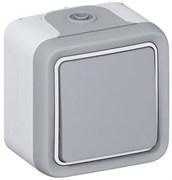 PLEXO Переключатель одноклавишный 10А наружный серый IP55