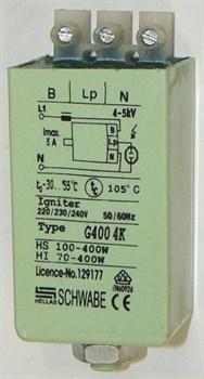 CD 400 70W-400W 4,6A 4-5kV SCHWABE HELLAS пластик ножка+гайка 32х37х62 -ИЗУ - фото 6950