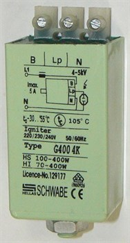 CD 400 70W-400W 4,6A 4-5kV SCHWABE HELLAS металл ножка+гайка 32х37х62 -ИЗУ - фото 6951