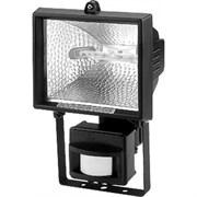 Прожектор галогенный  с датчиком FL-H500S  -под лампу 114мм- IP54 черный (S012)