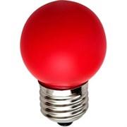 Лампа светодиодная, 5LED(1W) 230V E27 красный, LB-37 Feron
