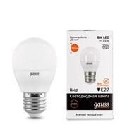 Лампа Gauss LED Elementary Шар 8W E27 520lm 3000K 1/10/100