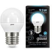 Лампа Gauss LED Шар E27 9.5W 950lm 4100K 1/10/50