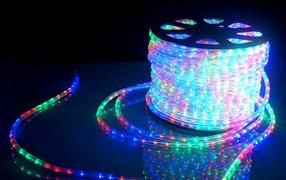 Дюралайт LED, свечение с динамикой (3W) - мульти (RYGB), 24 LED/м, бухта 100м