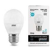 Лампа Gauss LED Elementary Шар 10W E27 920lm 4100K 1/10/100