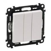 Valena LIFE Выключатель трехклавишный 10АХ 250В с лицевой панелью Винтовые зажимы Белый (752403)