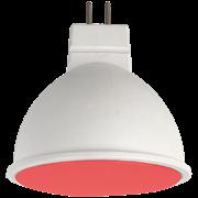 Ecola MR16   LED color  7,0W  220V GU5.3 Red Красный матовое стекло (композит) 47x50