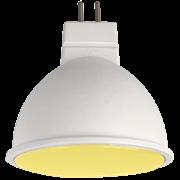 Ecola MR16   LED color  7,0W  220V GU5.3 Yellow Желтый матовое стекло (композит) 47х50