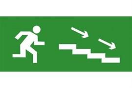Эвакуационный знак ЭП12 По лестнице вниз направо 140x280 мм