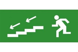 Эвакуационный знак ЭП13 По лестнице вниз налево 140x280 мм