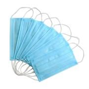 Маска медицинская трехслойная одноразовая (10 шт/уп, пакет), голубая