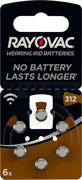 Батарейки для слуховых аппаратов RAYOVAC ACOUSTIC Type 312 BL6 - (блистер 6шт)