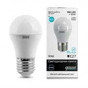 Лампа Gauss Elementary Шар 6W 450lm 4100K Е27 LED 1/10/100