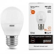 Лампа Gauss Elementary Шар 6W 420lm 3000K Е27 LED 1/10/100